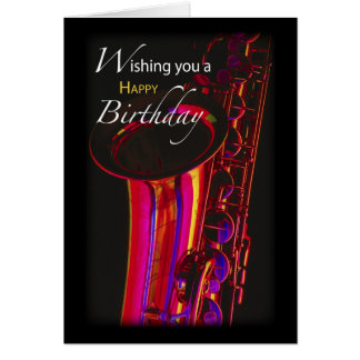 Birthday Jazz, Saxophone Card