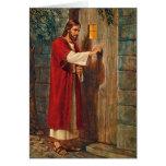 Birthday Jesus Knocks On The Door Greeting Cards