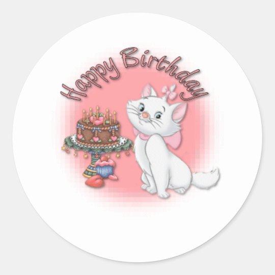 Birthday Kitten Classic Round Sticker