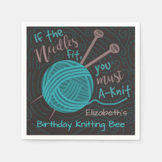 Birthday Knitting Bee Party | Funny Knitting Yarn Disposable Serviettes