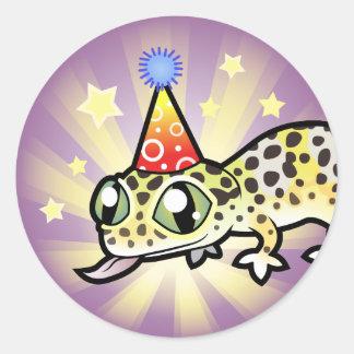 Birthday Leopard Gecko Classic Round Sticker