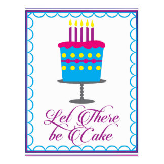 birthday let there be cake illustration postcard