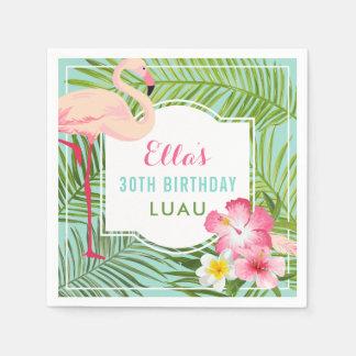Birthday Luau | Tropical Flamingo Disposable Serviettes