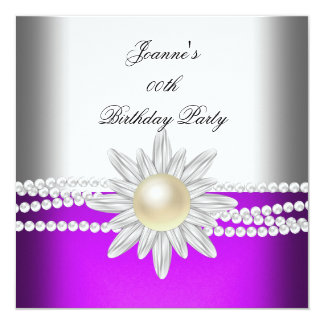 Birthday Magenta Pink Purple White Pearl Flower 13 Cm X 13 Cm Square Invitation Card