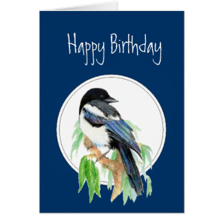 Birthday Magpie, Bird, Nature, Wildlife Card
