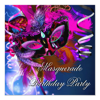 Birthday Masquerade Party Mask Blue Pink 13 Cm X 13 Cm Square Invitation Card