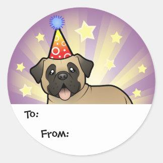 Birthday Mastiff / Bullmastiff Round Sticker