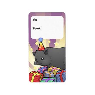 Birthday Miniature Pig Label