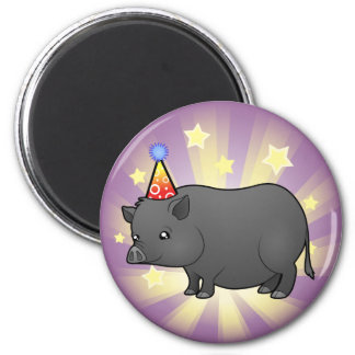 Birthday Miniature Pig 6 Cm Round Magnet