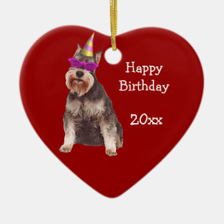 Birthday Miniature Schnauzer Keepsake Ornament