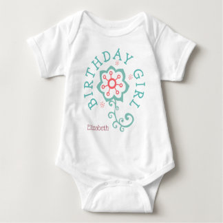 Birthday Modern Pink/Blue Butterfly Girl Baby Bodysuit