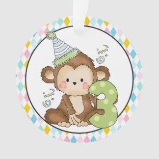 Birthday Monkey age three ornament