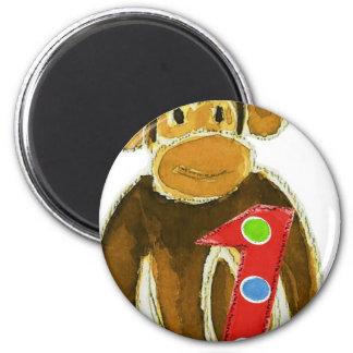 Birthday Monkey Holding One 6 Cm Round Magnet