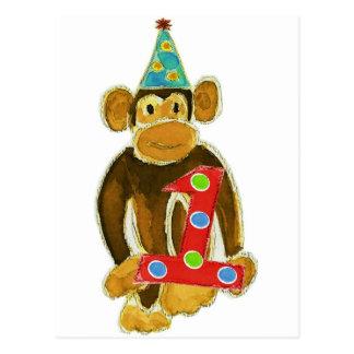 Birthday Monkey Holding One Postcard