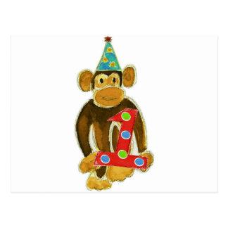 Birthday Monkey Holding One Postcards