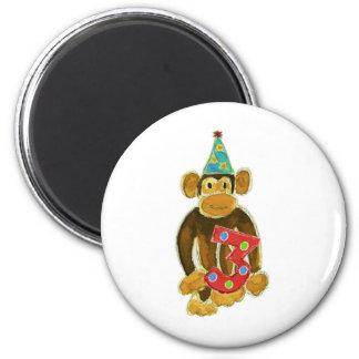 Birthday Monkey Holding Three 6 Cm Round Magnet
