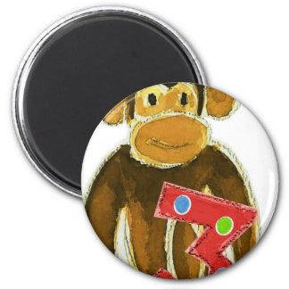 Birthday Monkey Holding Three Magnet