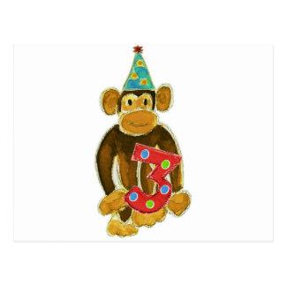 Birthday Monkey Holding Three Postcard