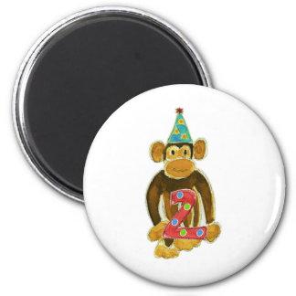 Birthday Monkey Holding Two 6 Cm Round Magnet
