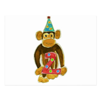 Birthday Monkey Holding Two Postcard