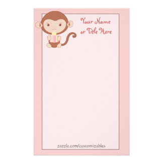 Birthday Monkey Pink Stationary Stationery