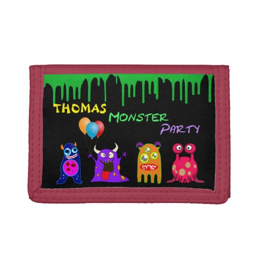 Birthday Monster Party Personalised Party Favours Tri-fold Wallet