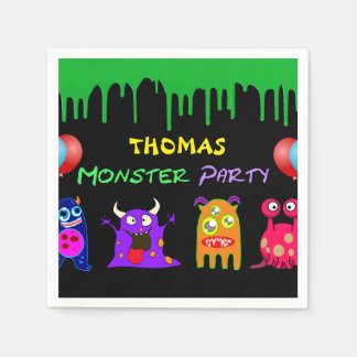 Birthday Monster Party Personalized Disposable Napkins