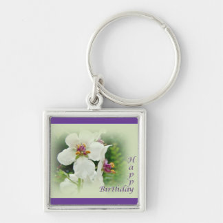 Birthday Moth Mullein Wildflower Silver-Colored Square Key Ring