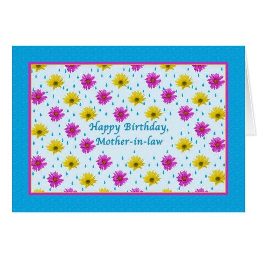 Birthday, Mother-in-law, Pink and Yellow Daisies Card