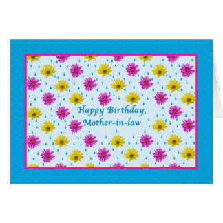 Birthday, Mother-in-law, Pink and Yellow Daisies Greeting Card