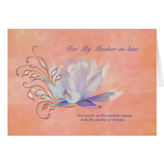 Birthday Mother-in-law Water Lily Religious Greeting Card