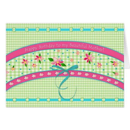 Birthday/Mother-Sweet Gingham/Pink Flowers Card