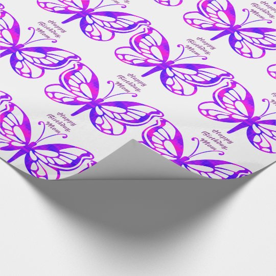 Birthday, mum, butterflies in purple. wrapping paper