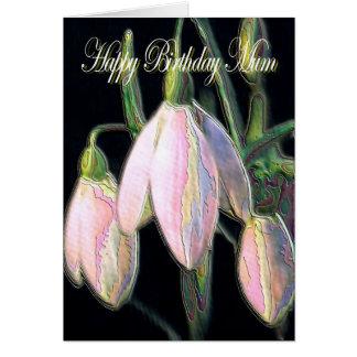 Birthday Mum, pastel snow drops card