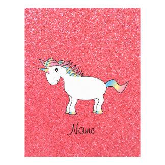 Birthday name unicorn light pink glitter 21.5 cm x 28 cm flyer