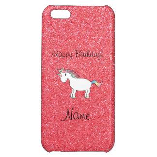 Birthday name unicorn light pink glitter iPhone 5C covers