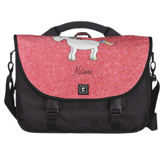 Birthday name unicorn light pink glitter bag for laptop
