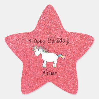 Birthday name unicorn light pink glitter star sticker