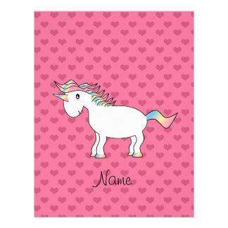 Birthday name unicorn pink hearts 21.5 cm x 28 cm flyer