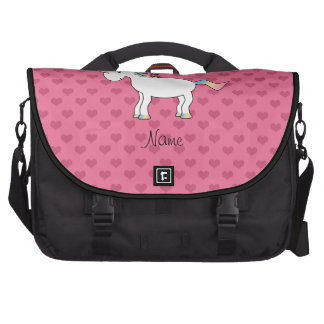 Birthday name unicorn pink hearts laptop commuter bag