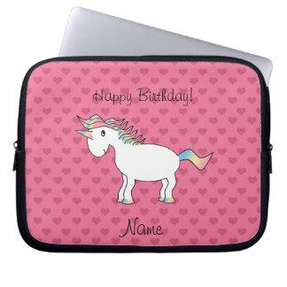 Birthday name unicorn pink hearts laptop sleeve