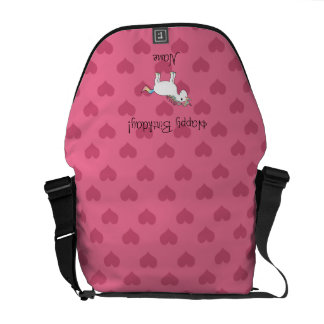 Birthday name unicorn pink hearts courier bags