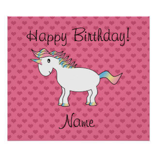 Birthday name unicorn pink hearts poster