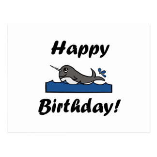 Birthday Narwhal Postcard