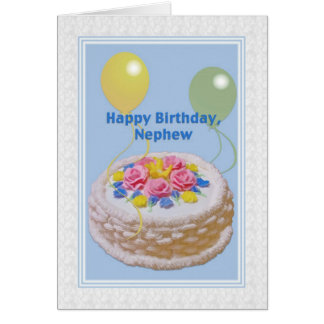 Birthday, Nephew, Cake and Balloons Greeting Card