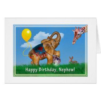 Birthday, Nephew, Elephant, Giraffe Greeting Card