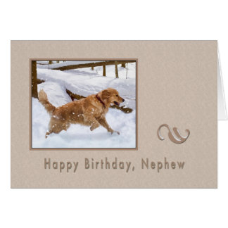Birthday Nephew Golden Retriever Dog in Snow Card