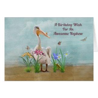 Birthday, Nephew, Pelican, Flowers and Butterflies Card