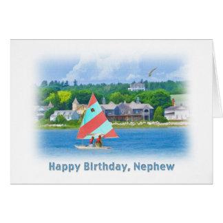 Birthday, Nephew, Sailboat on a Lake,  Nautical Greeting Card