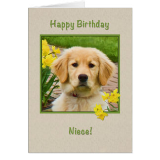 Birthday, Niece, Golden Retriever Dog, Daffodils Card